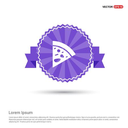 Classic pizza icon - Purple Ribbon banner