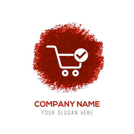 Shopping Cart and plus Sign - Red WaterColor Circle Splash Illustration