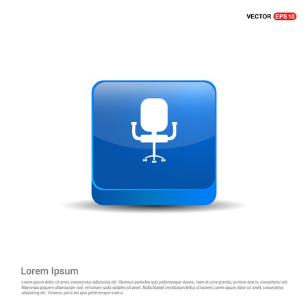 Office Chair Icon - 3d Blue Button.