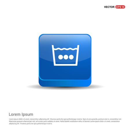 Washing Symbol Icon - 3d Blue Button.