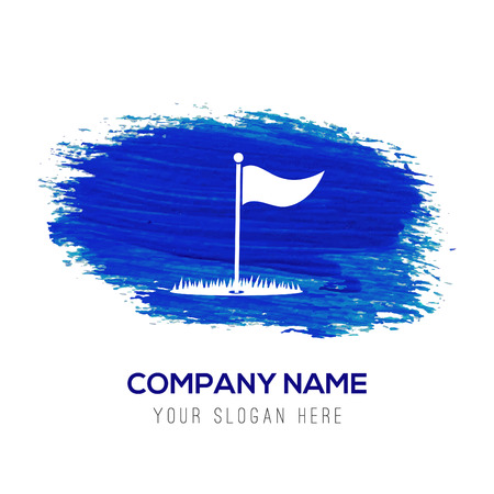 Golf Flag Icon - Blue watercolor background