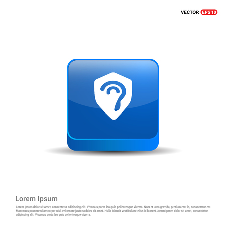 Ear icon - 3d Blue Button. Vettoriali