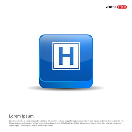 Helipad simple flat icon - 3d Blue Button. Vektorové ilustrace