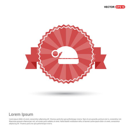Santa Claus hat Icon - Red Ribbon banner Imagens - 111302779