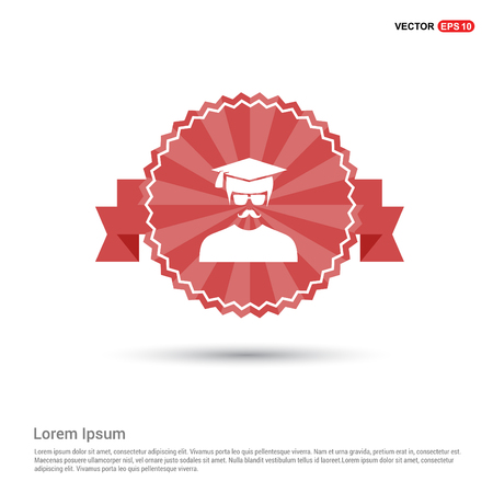 Education User Icon - Red Ribbon banner