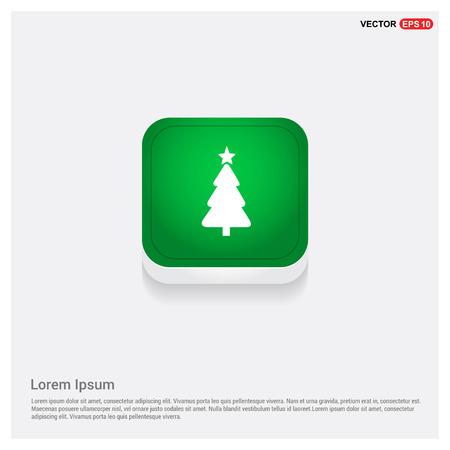 X-Mas Tree IconGreen Web Button - Free vector icon Illustration