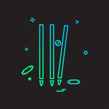 wicket cricket out bowled icono diseño vectorial Ilustración de vector