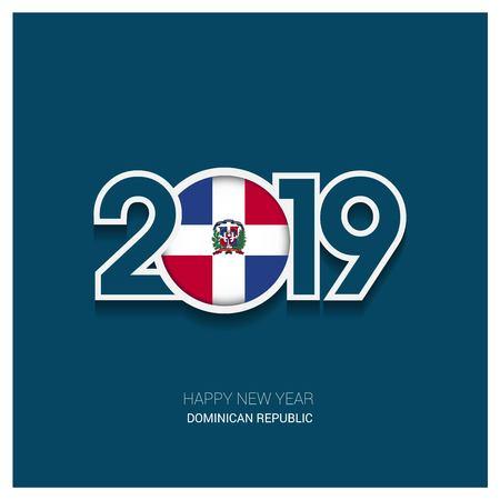 2019 Dominikanische Republik Typografie, Frohes Neues Jahr Hintergrund