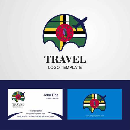Travel Dominica Flag Logo and Visiting Card Design