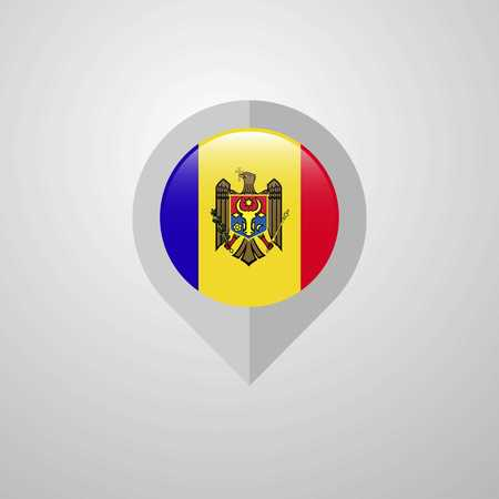 Map Navigation pointer with Moldova flag design vector Vektorové ilustrace