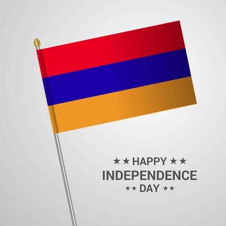 Armenia Independence day typographic design with flag vector