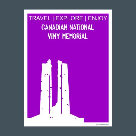 Canadian National Vimy Memorial Vimy, France monument landmark brochure Flat style and typography vector