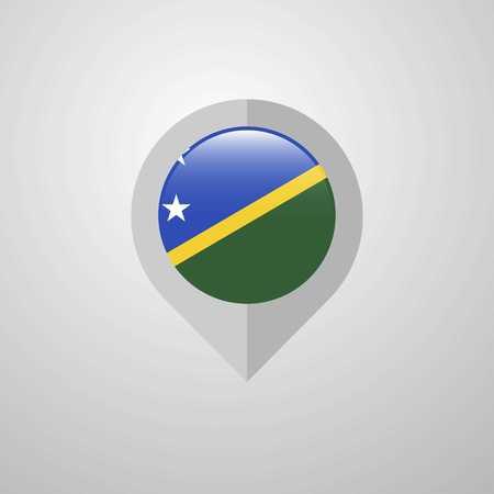 Map Navigation pointer with Solomon Islands flag design vector Çizim