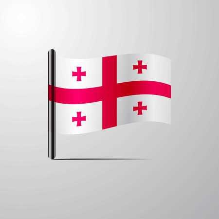 Georgia waving Shiny Flag design vector
