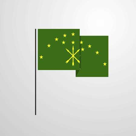 Adygea waving Flag design vector Ilustrace