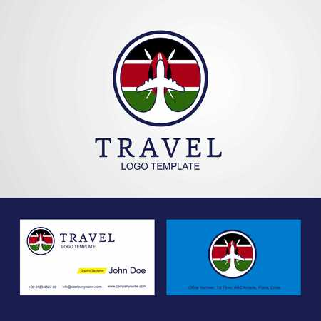 Travel Kenya Creative Circle flag Logo and Business card design  イラスト・ベクター素材