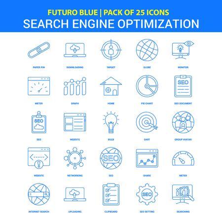 Ikony optymalizacji pod kątem wyszukiwarek — pakiet ikon Futuro Blue 25