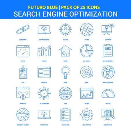 Search Engine Optimization Icons - Futuro Blue 25 Icon pack