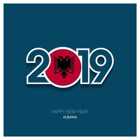2019 Albania Typography, Happy New Year Background Vektorové ilustrace