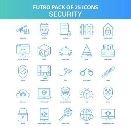 25 Green and Blue Futuro Security Icon Pack Ilustração