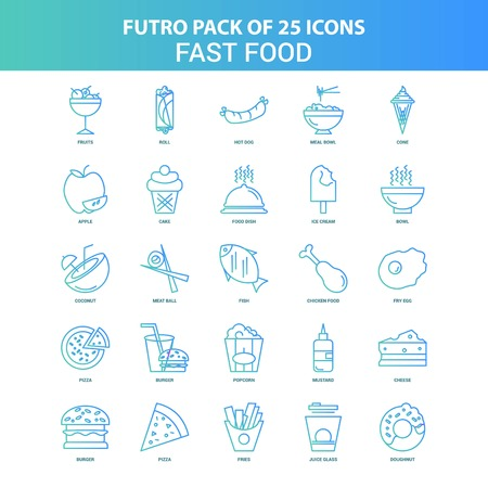 25 Green and Blue Futuro Fast food Icon Pack Illustration