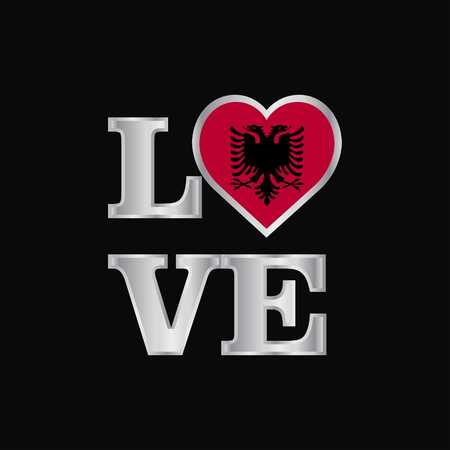 Love typography Albania flag design vector beautiful lettering