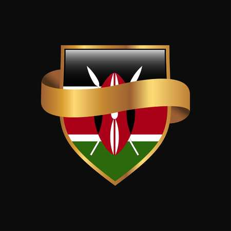 Kenya flag Golden badge design vector 写真素材 - 118294773