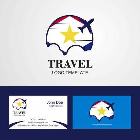 Travel saba Flag Logo and Visiting Card Design Illustration