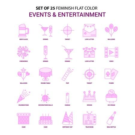 套25个女性事件和娱乐平面颜色粉红色图标集