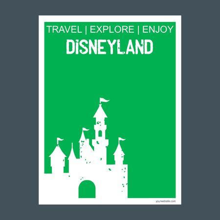Disneyland California, United States monument landmark brochure Flat style and typography vector