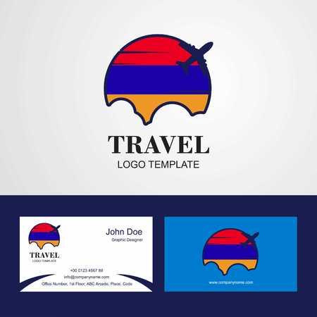 Travel Armenia Flag Logo and Visiting Card Design Stock Vector - 111163618