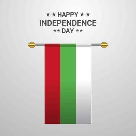 Bulgaria Independence day hanging flag background Ilustrace