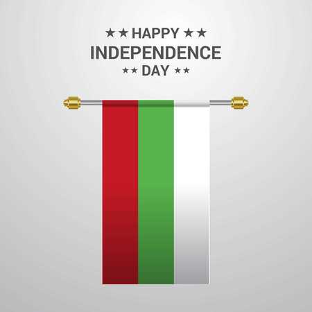 Bulgaria Independence day hanging flag background Illustration