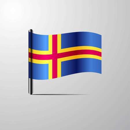 Aland ondeando vector de diseño de bandera brillante