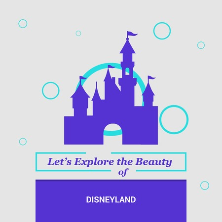 Let's Explore the beauty of Disneyland California, United States National Landmarks 向量圖像