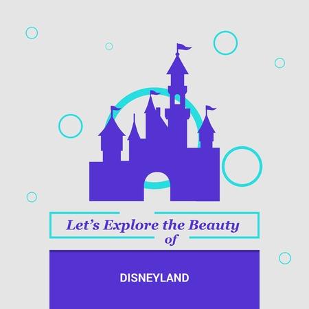 Let's Explore the beauty of Disneyland California, United States National Landmarks Illustration