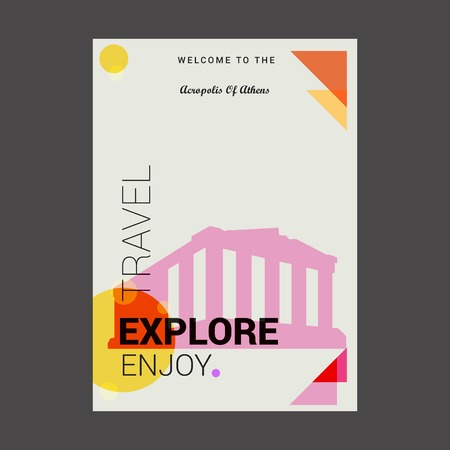 Willkommen auf der Akropolis von Athen, Griechenland Erkunden, Reisen Genießen Sie Poster-Vorlage Vektorgrafik