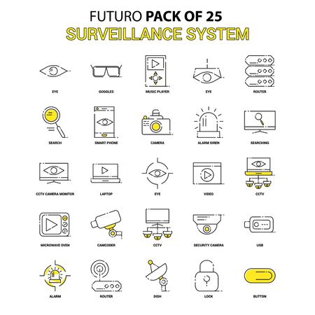Surveillance Icon Set. Yellow Futuro Latest Design icon Pack