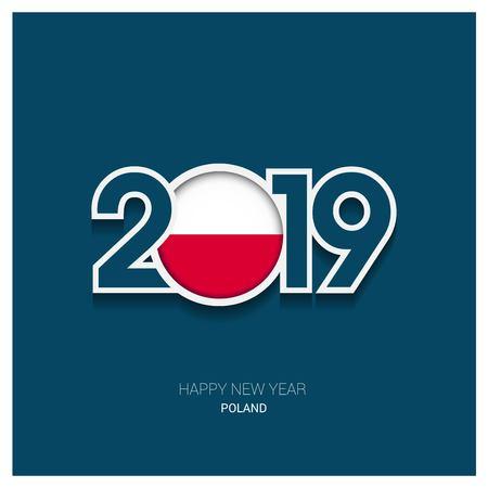 2019 Poland Typography, Happy New Year Background