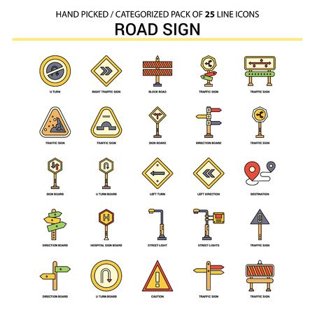 Road Sign Flat Line Icon Set - Business Concept Icons Design Çizim