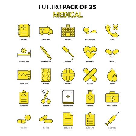 Medical Icon Set. Yellow Futuro Latest Design icon Pack