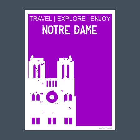 Notre Dame Paris, France monument landmark brochure Flat style and typography vector