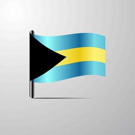 Bahamas waving Shiny Flag design vector Illustration