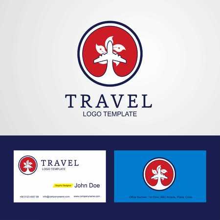 Travel Hongkong Creative Circle flag Logo and Business card design