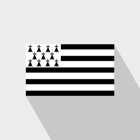 Brittany flag Long Shadow design vector 向量圖像
