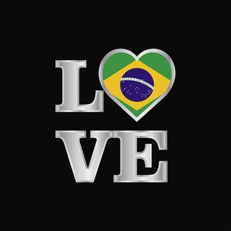 Love typography Brazil flag design vector beautiful lettering