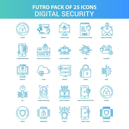 25 Green and Blue Futuro Digital Security Icon Pack