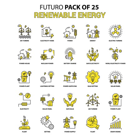 Renewable Energy Icon Set. Yellow Futuro Latest Design icon Pack Standard-Bild - 111128360