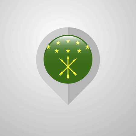 Map Navigation pointer with Adygea flag design vector Ilustrace