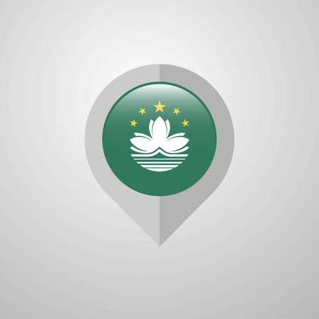 Map Navigation pointer with Macau flag design vector Illustration